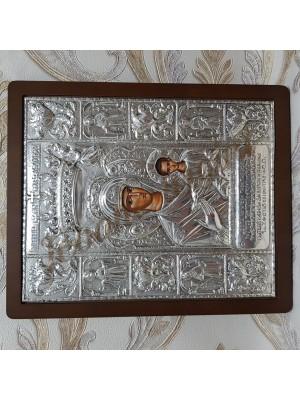 """Icoana din argint Maica Domnului cu Pruncul - """"Soumela"""" (30,7x24,6 cm) cod 104"""