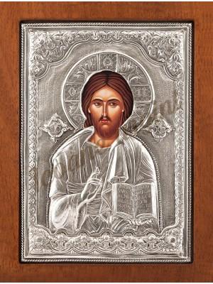 "Icoana din argint ""Isus Pantocrator"" (21.8x16 cm) cod 102-17"