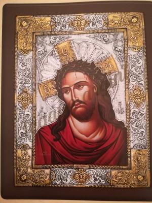 "Icoana din argint cu aur suflat ""Iisus Hristos"" (46x37 cm) cod 207-01"