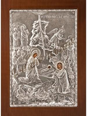 """Icoana din argint """"Nasterea Domnului"""" (21.8x16 cm) cod 102-20"""