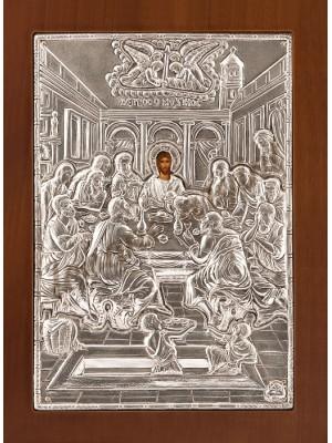 """Icoana din argint """"Cina cea de Taina"""" (21.8x16 cm) cod 102-76"""