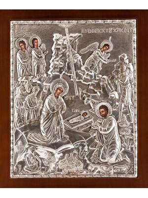 """Icoana din argint """"Nasterea Domnului"""" (26.8x22.6 cm) cod 103-12"""