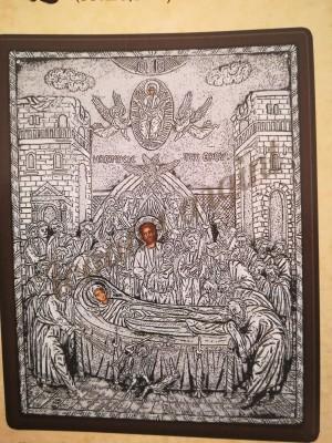 """Icoana din argint """"Adormirea Maicii Domnului"""" (33x26.5 cm) cod 204-11"""