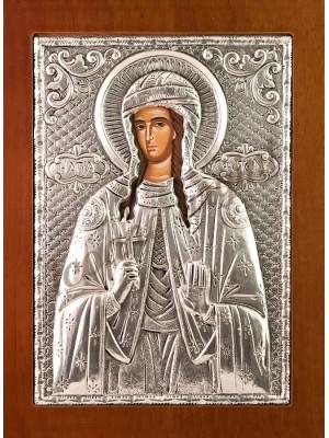 "Icoana din argint ""Sfanta Mucenita Fotini"" (21.8x16 cm)  cod 102-58"