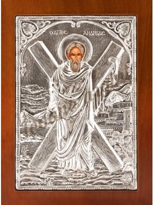 """Icoana din argint """"Sfantul Andrei"""" (21.8x16 cm) cod 102-43"""