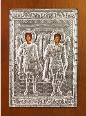"Icoana din argint ""Sf Arhangheli Mihail si Gavril"" (21.8x16 cm) cod 102-46"