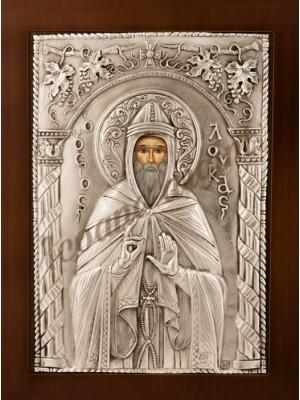 """Icoana din argint """"Sfantul Luca"""" (21.8x16 cm) cod 102-36"""