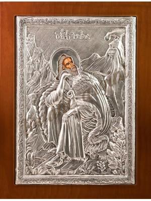 """Icoana din argint """"Sfantul Ilie"""" (21.8x16 cm) cod 102-34"""